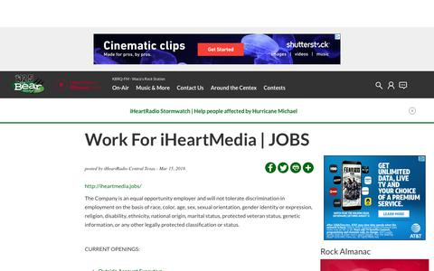 Screenshot of Jobs Page iheart.com - Work For iHeartMedia | JOBS | KBRQ-FM - captured Oct. 26, 2018