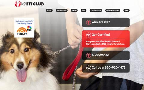 Screenshot of Home Page k9fitclub.com - K9FitClub | Health and Wellness for both Dogs and People. - captured Oct. 6, 2014