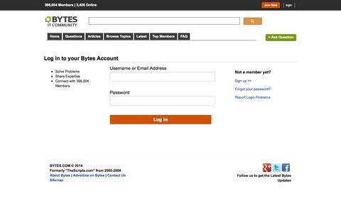 Screenshot of Login Page bytes.com - Bytes - Log in / Sign in - captured Sept. 19, 2014