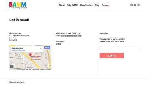 Screenshot of Contact Page bammlondon.com - Contact | BAMM London - captured Oct. 3, 2014