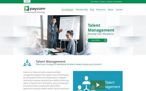 Paycom | Our Solution: Talent Management