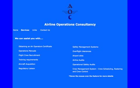 Screenshot of Services Page aoc.uk.com - AOC - Airline Operations Consultancy - captured Oct. 4, 2014
