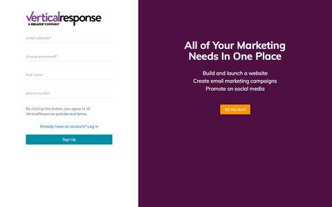 Screenshot of Signup Page verticalresponse.com - VerticalResponse - captured July 12, 2018