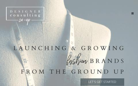 Screenshot of Home Page designerconsultingcoop.com - Designer Consulting Co-op – Consulting, Launching, & Growing Start-Up Fashion Brands From the Ground Up - captured Nov. 6, 2018