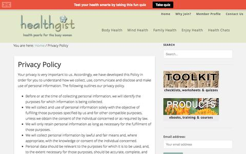 Screenshot of Privacy Page healthgist.com - Privacy Policy - captured Oct. 28, 2014