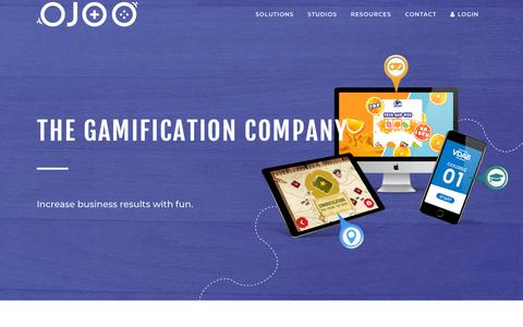 Screenshot of Home Page ojoo.com - OJOO: The Gamification Company | Improve the results of your business - captured Sept. 21, 2018
