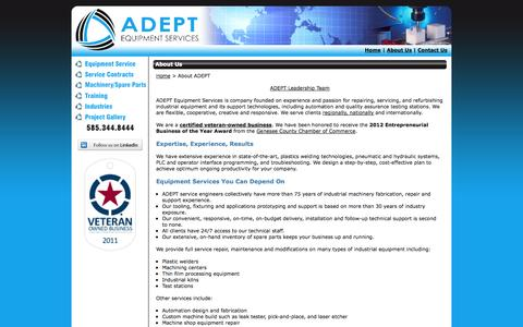 Screenshot of About Page adeptesi.com - About ADEPT Equipment Services, Rochester NY - captured Oct. 4, 2014
