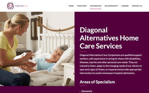 Screenshot of Services Page diagonalalternatives.com - Home Care Services Newcastle | Diagonal Alternatives - captured Sept. 24, 2018