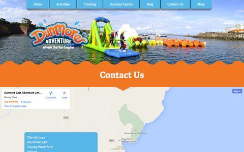 Screenshot of Contact Page dunmoreadventure.com - Dunmore Adventure - captured Oct. 5, 2014