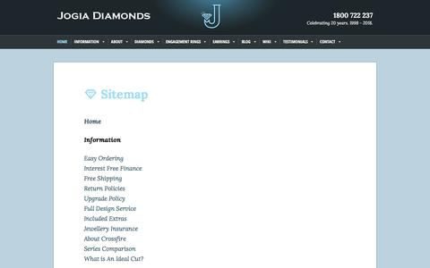 Screenshot of Site Map Page jogiadiamonds.com.au - Navigate Your Way Through Our Web Site - captured Sept. 22, 2018