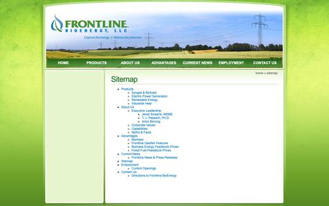 Screenshot of Site Map Page frontlinebioenergy.com - Sitemap - Frontline BioEnergy - biomass energy, biomass gasification, waste to energy. - captured Nov. 14, 2018