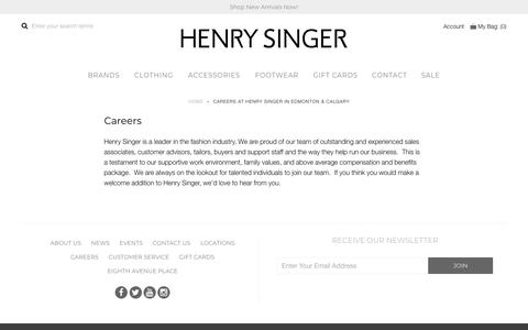 Screenshot of Jobs Page henrysinger.com - Careers at Henry Singer in Edmonton & Calgary - captured July 18, 2018