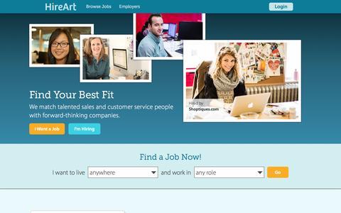 Screenshot of Home Page hireart.com - Startup Jobs & Startup Companies Hiring - HireArt - captured Feb. 25, 2016
