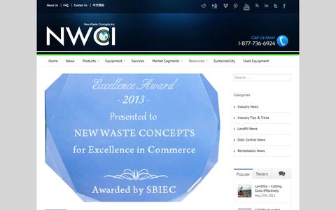 Screenshot of Press Page nwci.com - News, Product Announcements, Blog - New Waste Concepts, Inc. - captured Oct. 7, 2014