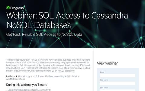 Screenshot of Landing Page progress.com - On-Demand Webinar   SQL Access to Cassandra NoSQL Databases - captured July 17, 2019