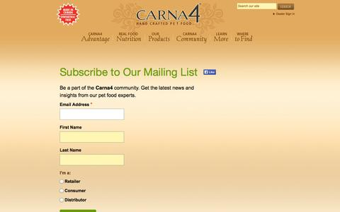 Screenshot of Signup Page carna4.com - Subscribe to Our Mailing List | Carna4 - captured Oct. 1, 2014
