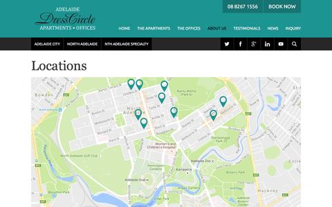 Screenshot of Locations Page adelaidedresscircle.com.au - Adelaide Accommodation Locations |  			Adelaide DressCircle - captured Nov. 20, 2016
