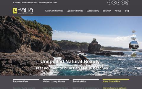 Screenshot of Home Page kalialiving.com - Kalia Living – Costa Rica Luxury Villas - captured Oct. 14, 2018