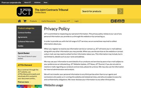 Screenshot of Privacy Page jctltd.co.uk - Privacy policy - captured March 4, 2016