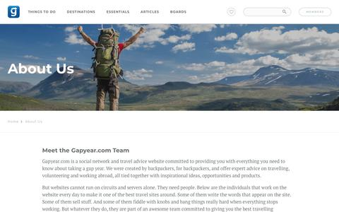 Screenshot of About Page gapyear.com - About Us - captured March 11, 2018
