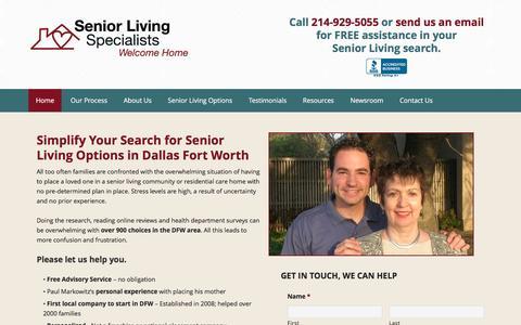 Screenshot of Home Page seniorlivingspecialists.com - Assisted Living Dallas, Plano Senior Living Facilities - Senior Care - captured Feb. 26, 2016
