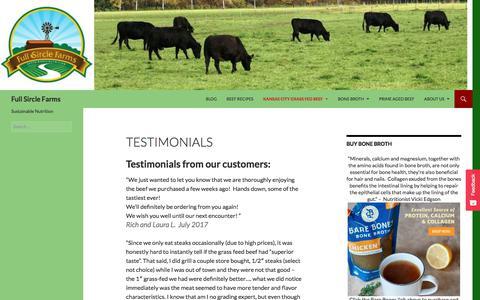 Screenshot of Testimonials Page fullsirclefarms.com - Testimonials - Full Sircle Farms - captured Sept. 1, 2018