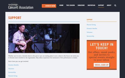 Screenshot of Support Page anchorageconcerts.org - Anchorage Concert Association :: Support - captured Nov. 20, 2016
