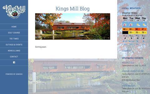 Screenshot of Blog kingsmillgolf.com - Kings Mill Blog - captured July 2, 2018