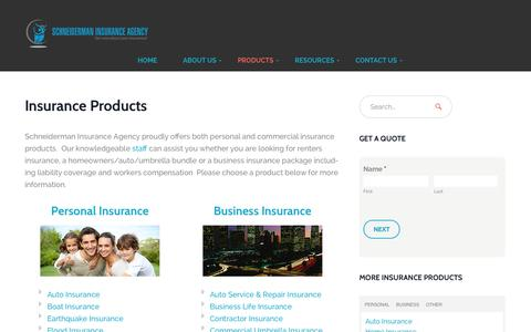 Screenshot of Products Page schneidermaninsurance.com - Insurance Products - Schneiderman Insurance Agency - captured Oct. 4, 2014