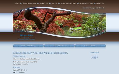 Screenshot of Contact Page blueskyoms.com - Contact Blue Sky Oral and Maxillofacial Surgery Fort Collins CO - captured Oct. 5, 2014