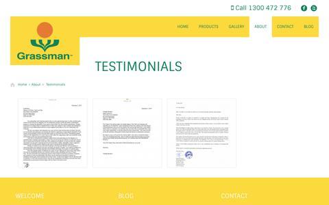 Screenshot of Testimonials Page grassman.com.au - Testimonials - Grassman | The Benchmark Synthetic Turf Manufacturer - captured Feb. 1, 2016