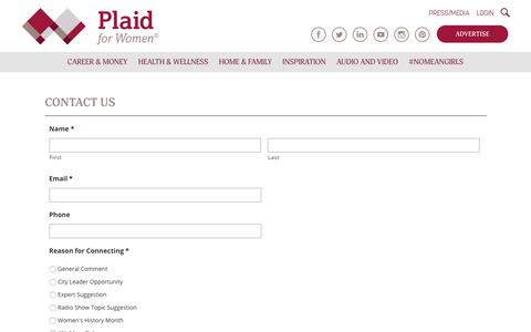Screenshot of Contact Page plaidforwomen.com - Contact Us - Plaid for Women - captured July 18, 2018