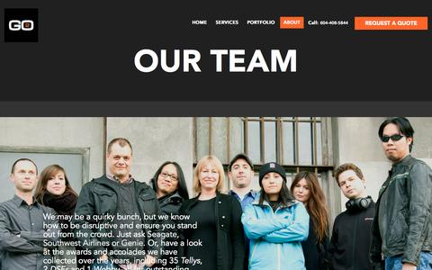 Screenshot of Team Page go2productions.com - Team - Go2 Productions - captured Oct. 1, 2015