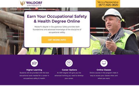 Screenshot of Landing Page waldorf.edu - Waldorf University Online | Occupational Safety Degree - captured Dec. 18, 2016