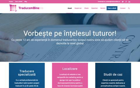 Screenshot of Home Page traducembine.ro - Servicii traduceri pentru companii - traducembine.ro - captured May 29, 2019