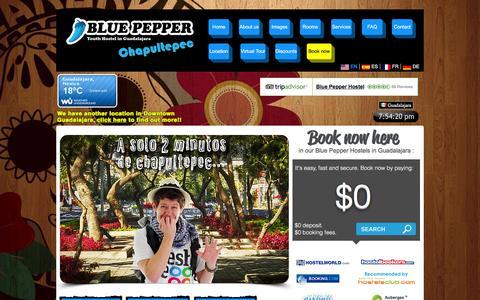 Screenshot of Home Page bluepepperhostel.com - Hostel Guadalajara | Hostal Guadalajara | Hostels in Guadalajara - captured Feb. 7, 2016