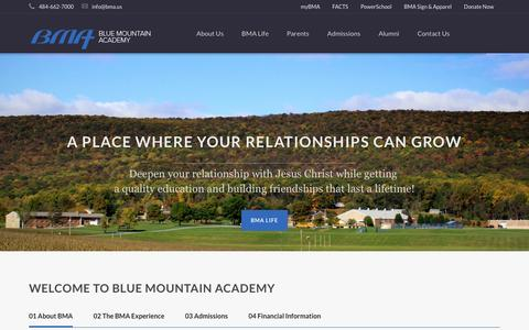 Screenshot of Home Page bma.us - Blue Mountain Academy - captured Dec. 4, 2015