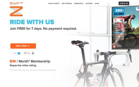 Screenshot of Trial Page zwift.com - Zwift | Indoor Cycling. Outdone. - captured Dec. 19, 2016
