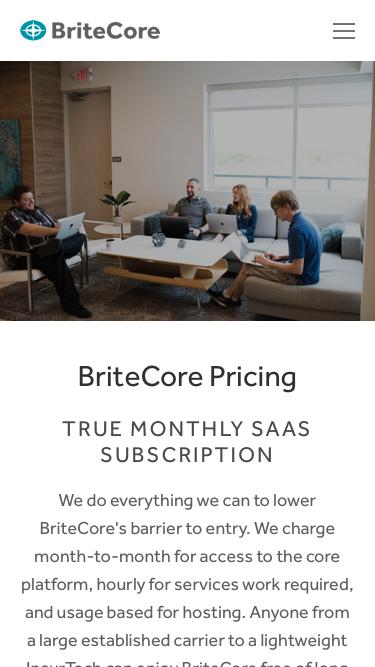Screenshot of Pricing Page  britecore.com - Pricing — BriteCore