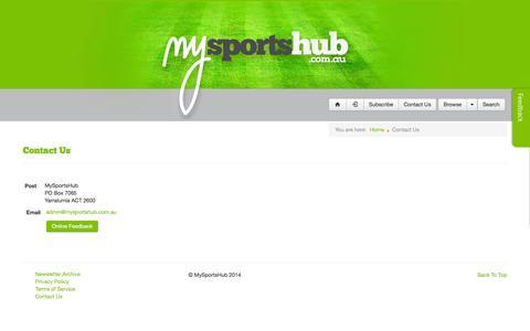 Screenshot of Contact Page mysportshub.com.au - Contact Us - captured Sept. 30, 2014