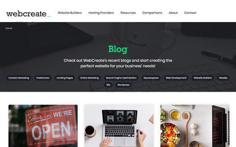 Screenshot of Blog webcreate.io - Website Builder Blog, Small Business Marketing Blog | WebCreate - captured July 10, 2018