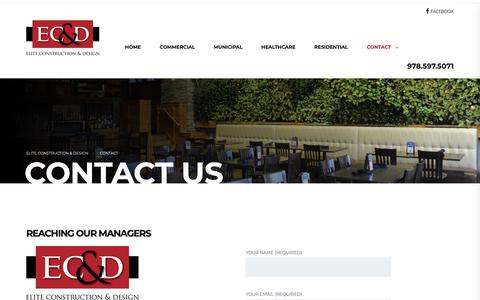 Screenshot of Contact Page eliteconstructiondesign.net - Contact Us | Elite Construction & Design - captured Sept. 27, 2018