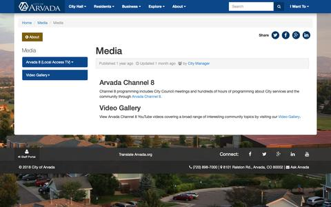 Screenshot of Press Page arvada.org - Media - City of Arvada - captured Sept. 28, 2018