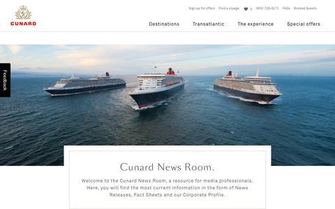 Screenshot of Press Page cunard.com - Cunard Press Releases - Press Room - captured Dec. 23, 2018