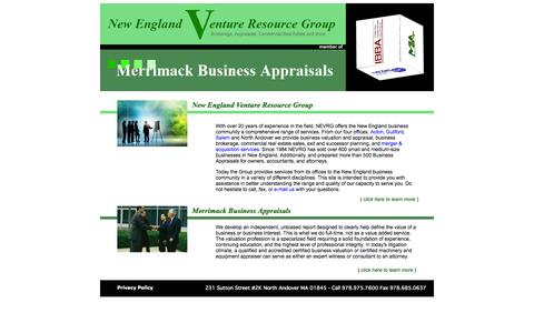 Screenshot of Home Page nevrg.com - New England Venture Resource Group Business Advisory Services North Andover MA - captured Oct. 7, 2014