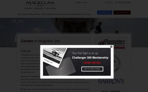 Screenshot of Jobs Page magellanjets.com - Careers in the Private Jet and Air Charter industry | Magellan Jets - captured Nov. 9, 2015