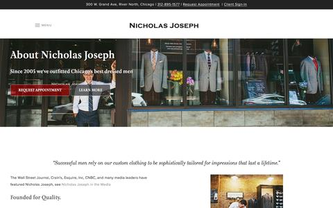 Screenshot of About Page customsuitsyou.com - About Nicholas Joseph Bespoke Clothing & Custom Tailor | Nicholas Joseph - captured Jan. 24, 2017