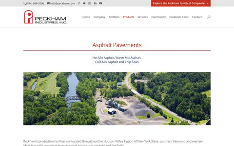 Screenshot of Products Page peckham.com - Asphalt Pavements | Peckham Industries, Inc. - captured Feb. 22, 2020