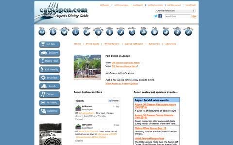 Screenshot of Home Page eataspen.com - eatAspen | Aspen, Colorado's Restaurant Dining Guide | Home Page - captured Oct. 1, 2014