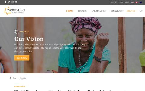 Screenshot of About Page worldhope.org - About Us | World Hope International - captured Oct. 20, 2018